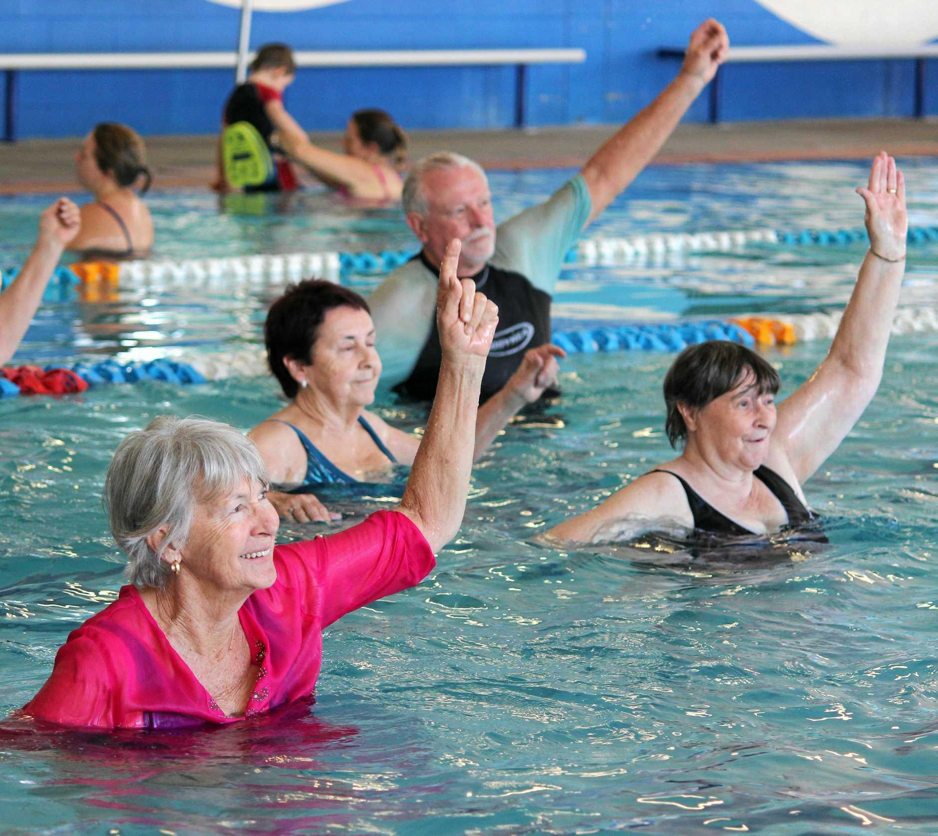 Seniors enjoy the benefits of Aqua fitness classes.