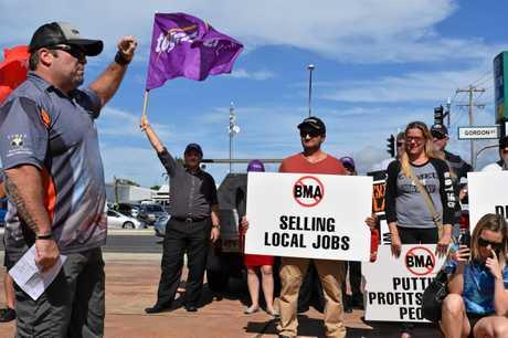 CFMEU Mackay district president Stephen Smyth at the rally.Photo: Emily Smith