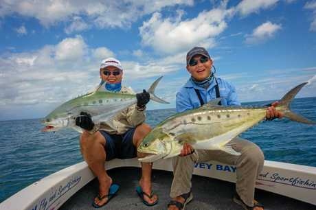 Josh and Cam caught this pair of queenfish off Arch Cliffs recently.