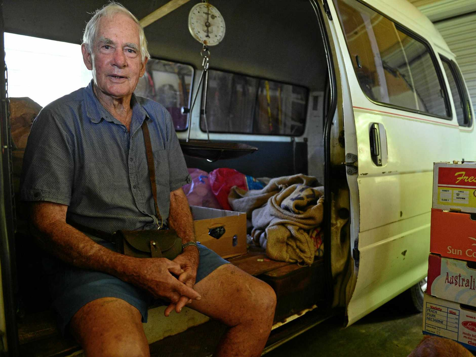 LONG SERVICE: Hinterland farmer Roly Lennox has stopped his home-delivery fruit and vegetable run after nearly 70 years.