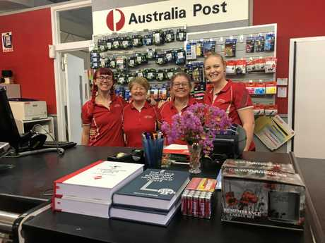 Clermont Australia Post employees Cayce Smit, Sharon Ball, Leonie Fry, Kate Flohr (co-owner). Co-owner Natalie Finger is not pictured.