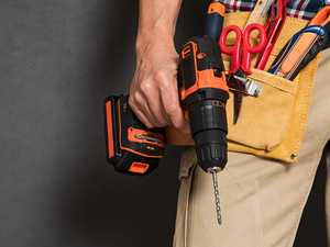 Drill set dropped into pants front