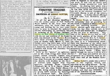 An excerpt from the 1928 Daily Examiner telling the story of Grafton's first bishops death.