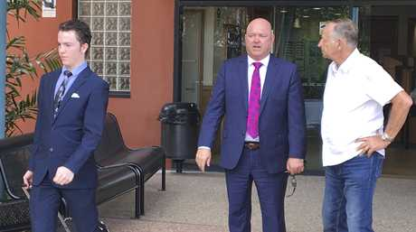 CORONIAL INQUIRY: Barrister for Mrs Beale's family Michael Anderson (middle) and Mrs Beale's father Bryan Loakes (right) leave the Gladstone Courthouse after the first day of the inquiry.