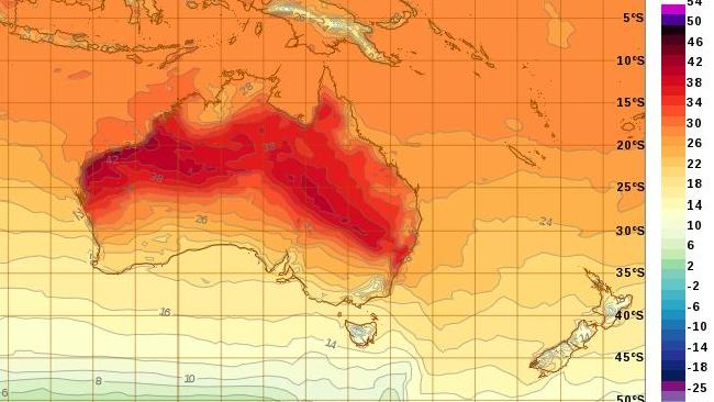 A straight line of heat heads from the Northern Territory to Sydney.