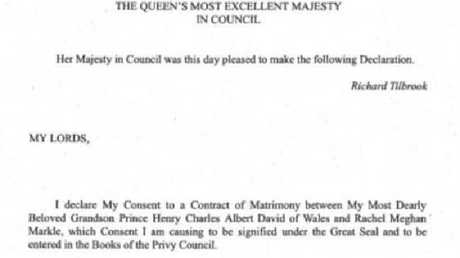 Queen Elizabeth II's letter to Privy Council approving Prince Harry's wedding. Picture: Supplied