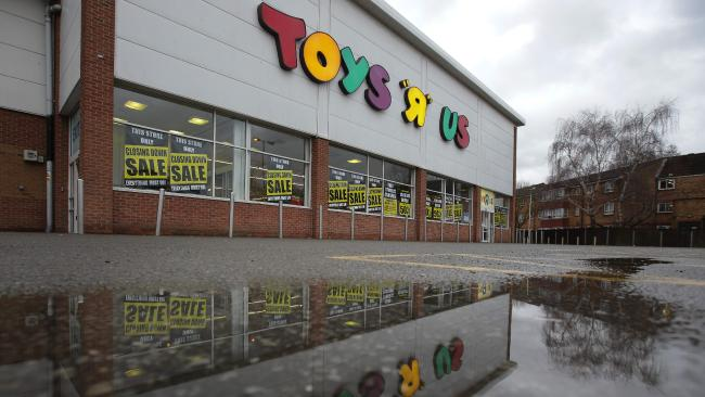 A Toys R Us store in London with closing down signs. Picture: / AFP PHOTO / Daniel LEAL-OLIVAS