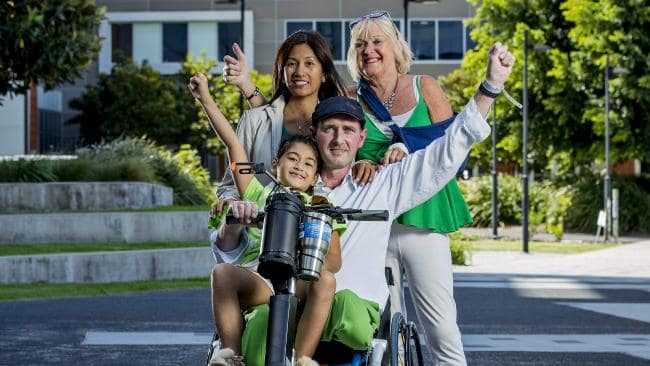 David Conway with his family, Vivien Conway, Keisha Conway, 7, and his mother Connie Conway. Picture: Jerad Williams