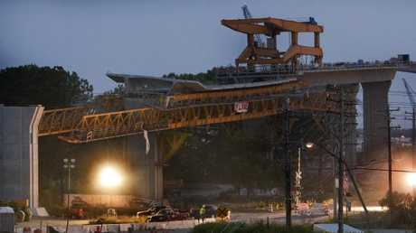 Construction on the new South Norfolk Jordan Bridge before it collapsed onto the road below. Picture: Bill Tiernan/The Virginian-Pilot via AP
