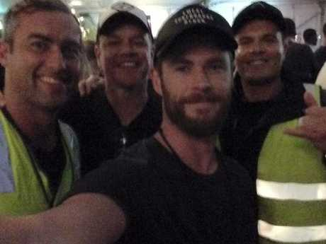 Chris Hemsworth and Matt Damon met the locals at Bluesfest. Picture: Instagram