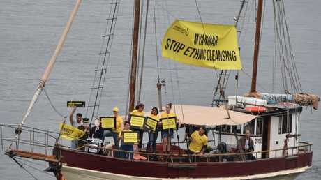 Amnesty International Australia held a protest against Myanmar's ethnic cleansing of Rohingya on a boat in Darling Harbour today. Picture: AFP/Peter Parks