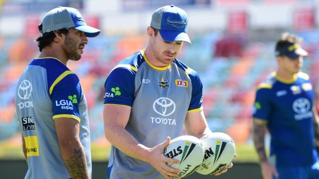 Johnathan Thurston and Michael Morgan at Cowboys training. Picture: Evan Morgan