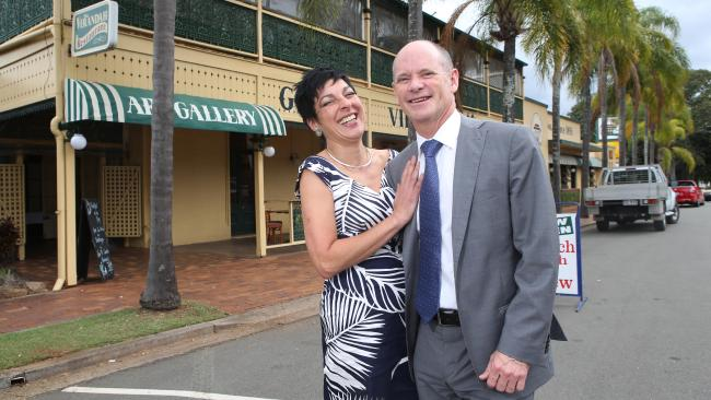 Former premier Campbell Newman, and wife Lisa whose brother Seb has been caught up in a recording sting.