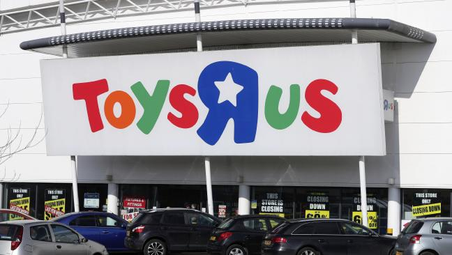 A branch of Toys R Us in Birmingham, central England, covered in closing down sale signs. The 70-year-old retailer is closing all its US and UK branches. Picture: Aaron Chown/PA via Ap).