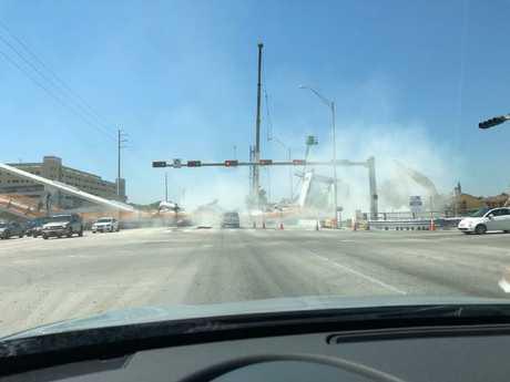 The Florida bridge collapse. Picture: @meganmfernandez/Twitter