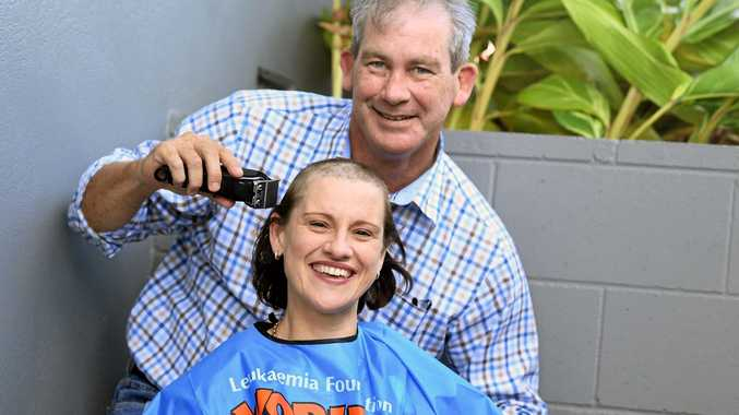 TURNING THE TIDE: Gympie Mayor Mick Curran was happy to help Gympie woman Janine Newton shave for a cure and help turn the tide in the fight for a cure for all kinds of blood cancer..