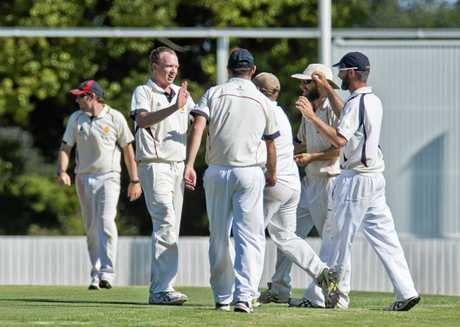 Mets celebrate the wicket of Wests' batsman Brian May for 67 in today's TCI A-grade semi-final. Matt Elford was the successful bowler.