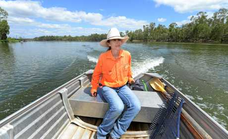 Environmental Field Officer Kymberly Robinson patrolling a 12km section of the Fitzroy River where she is working to protect Fitzroy River Turtle nesting sites from predators.