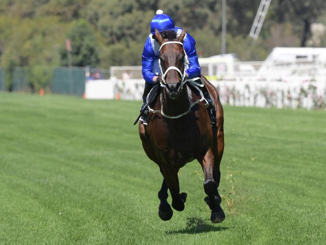Kerrin McEvoy lets Winx stretch out between races at Rosehill. Picture: Simon Bullard