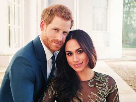 Prince Harry and Meghan Markle after their engagement announcement at Kensington Palace. Picture: AP