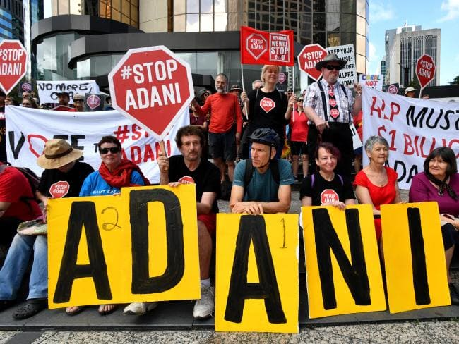 Inner-city protesters have pressured the Federal Government and Opposition over their support of the Adani megamine.