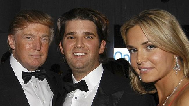 Donald Trump with his son Don Jr and wife Vanessa. Picture: Getty