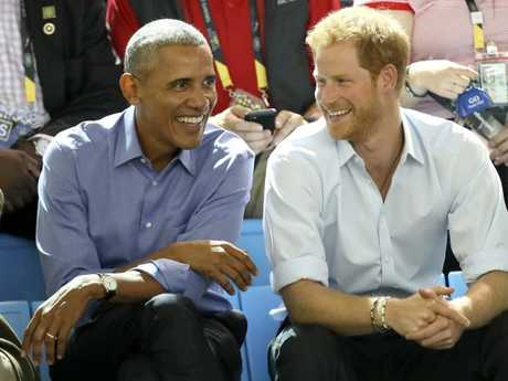 Former U.S. President Barack Obama and Prince Harry in 2017. Picture: Getty