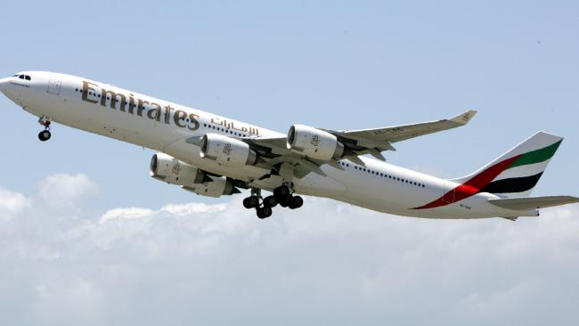 An Emirates flight attendant has died after she fell from the emergency door of a landed plane. Picture: