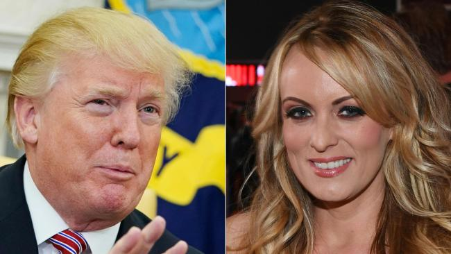 Stormy Daniels, right, claims she had an affair with US President Donald Trump. Picture: AFP