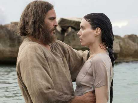 Joaquin Phoenix as Jesus and Rooney Mara as Mary in a scene from film Mary Magdalene