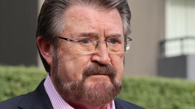 Crossbench senator Derryn Hinch was hospitalised after being knocked unconscious on Monday night after falling out of an Uber after having drinks with friends. Picture: Alex Murray/AAP