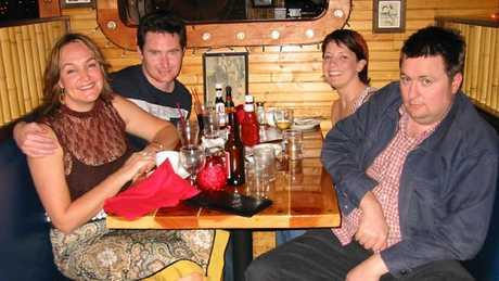 Early days: Hughesy and Kate with their producer, Sacha, and Dave O'Neill.