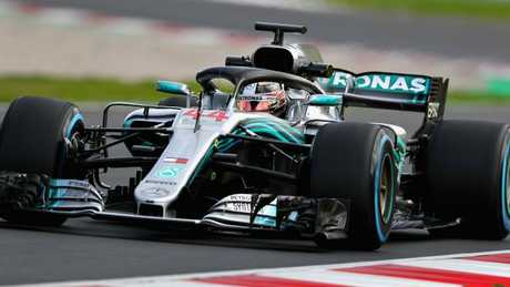 Hamilton driving the Mercedes AMG Petronas. (Dan Istitene/Getty Images)