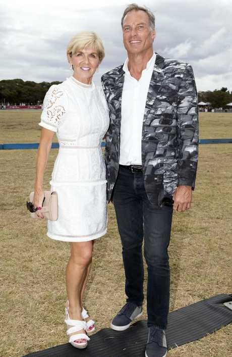 Julie Bishop with partner David Panton at the Portsea Polo. Picture: Sarah Matray