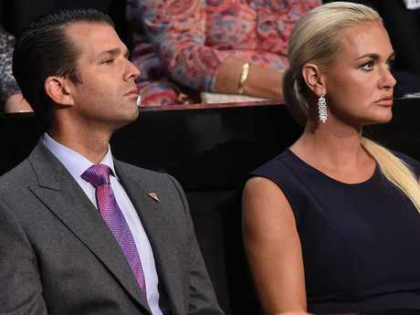 Donald Trump Jr., and his wife Vanessa Trump. Picture: AFP