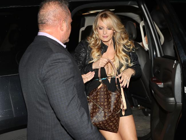Stephanie Clifford, who uses the stage name Stormy Daniels, arrives to perform at the Solid Gold Fort Lauderdale strip club in Pompano Beach, Florida. Picture: AFP