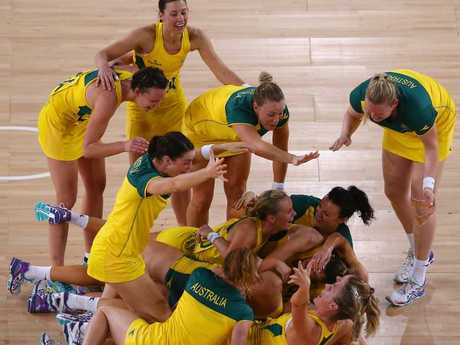 Diamonds players celebrate winning the gold medal match at the Commonwealth Games in Glasgow in 2014.