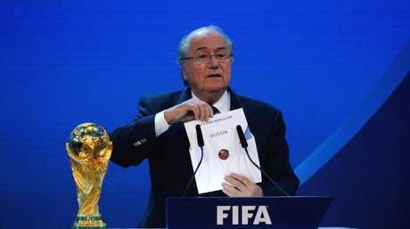 Then FIFA President Sepp Blatter reveals Russia as holders for the 2018 World Cup