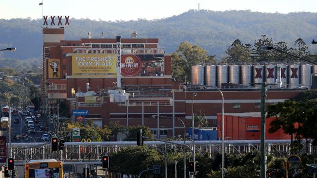 The iconic XXXX brewery dominated the Milton skyline.