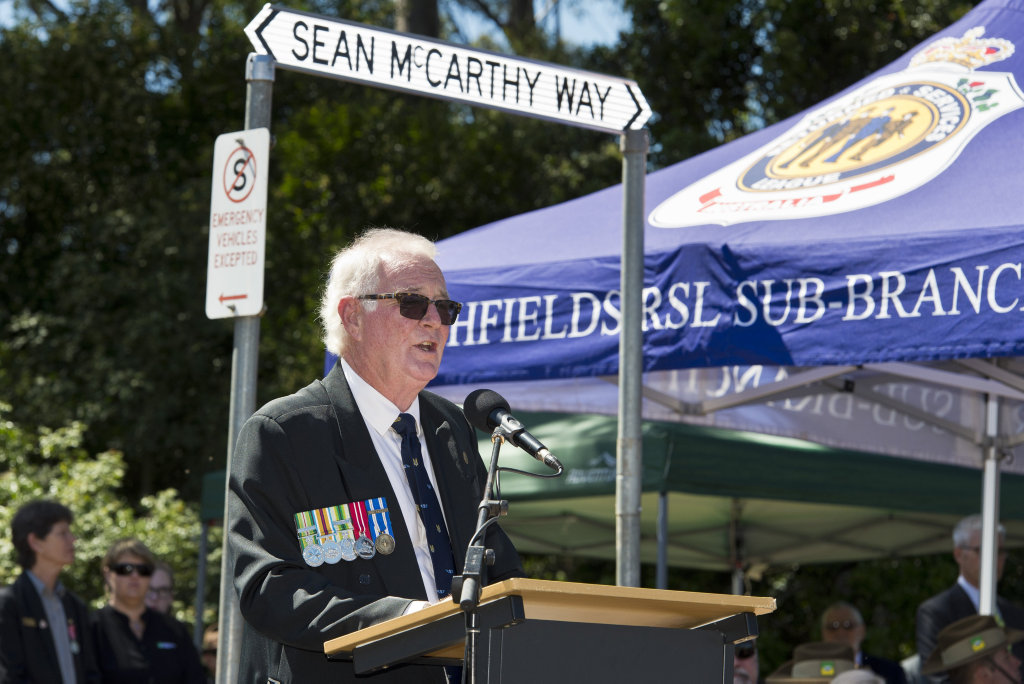David McCarthy talks at the dedication of Sean McCarthy Way at Highfields in honour of his son killed in active duty in Afghanistan, Saturday, March 17, 2018.