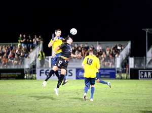 Magpies Crusaders striker Kyle Markham flies for a
