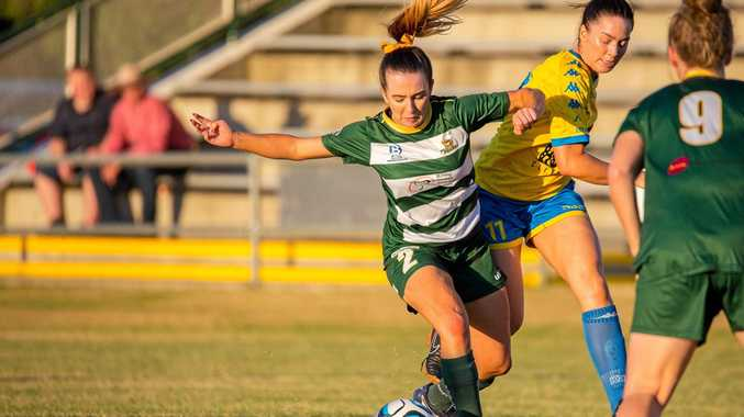 Busy Western Pride footballer Emma Barnes tries to control the ball in her team's 4-1 NPL loss to Capalaba at the Briggs Road Sporting Complex.