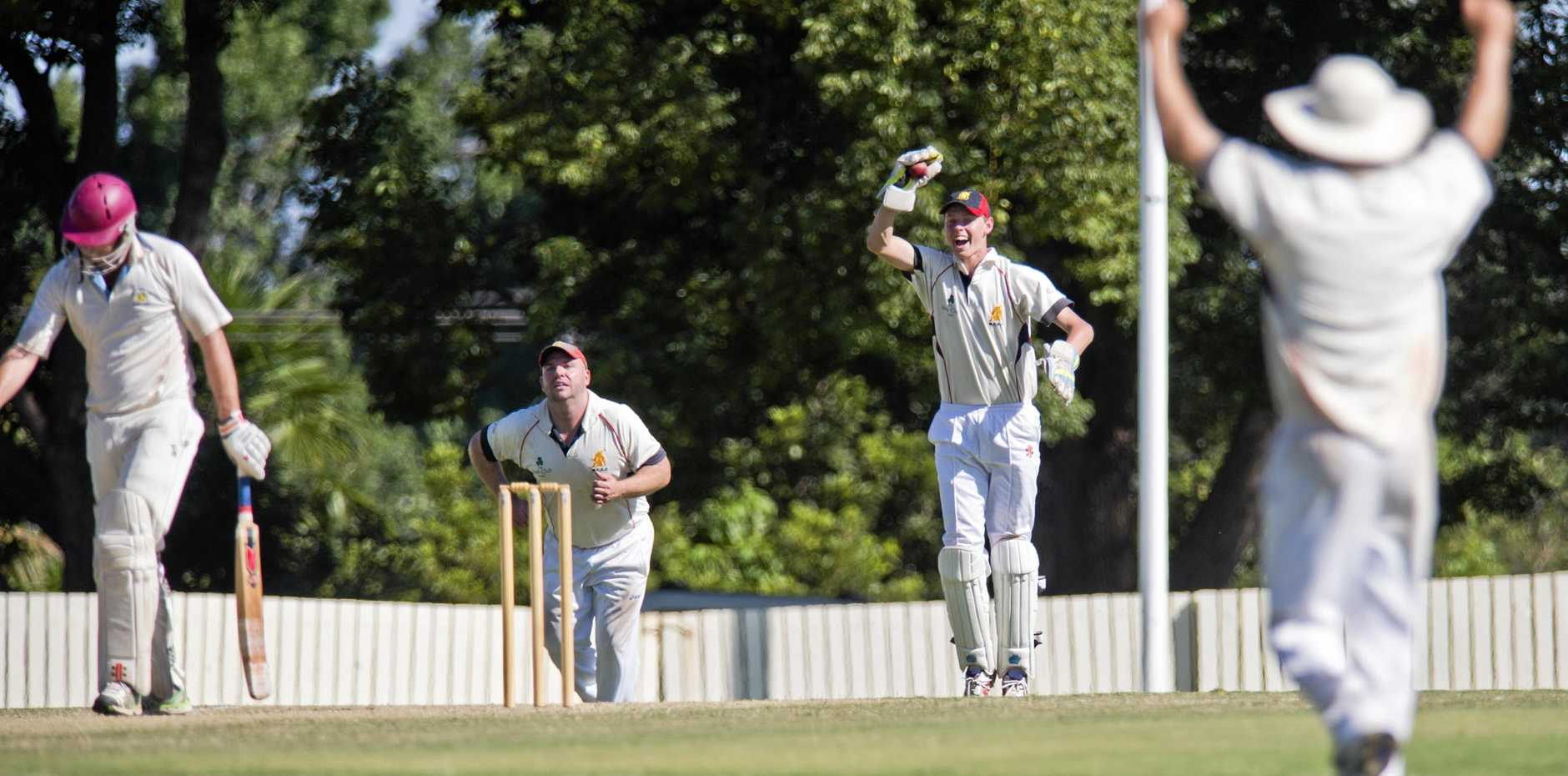 GOT HIM: Jaidyn Teske, keeper for Met Easts celebrates the wicket of Chris Gillam during the TCI semi final between Mets and Wests at the weekend.