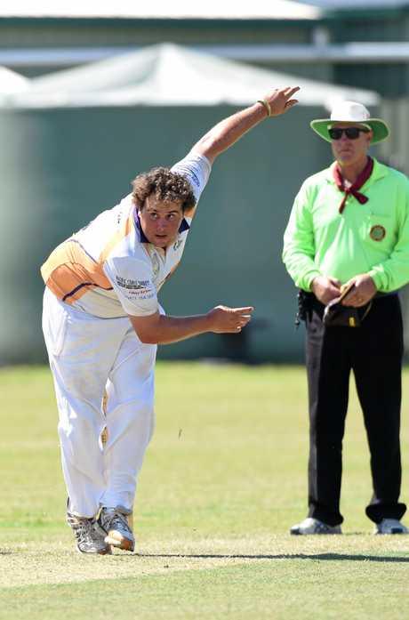 Hervey Bay cricket - Bushrangers (fielding) v Cavaliers (batting). Justin Frohling bowling.