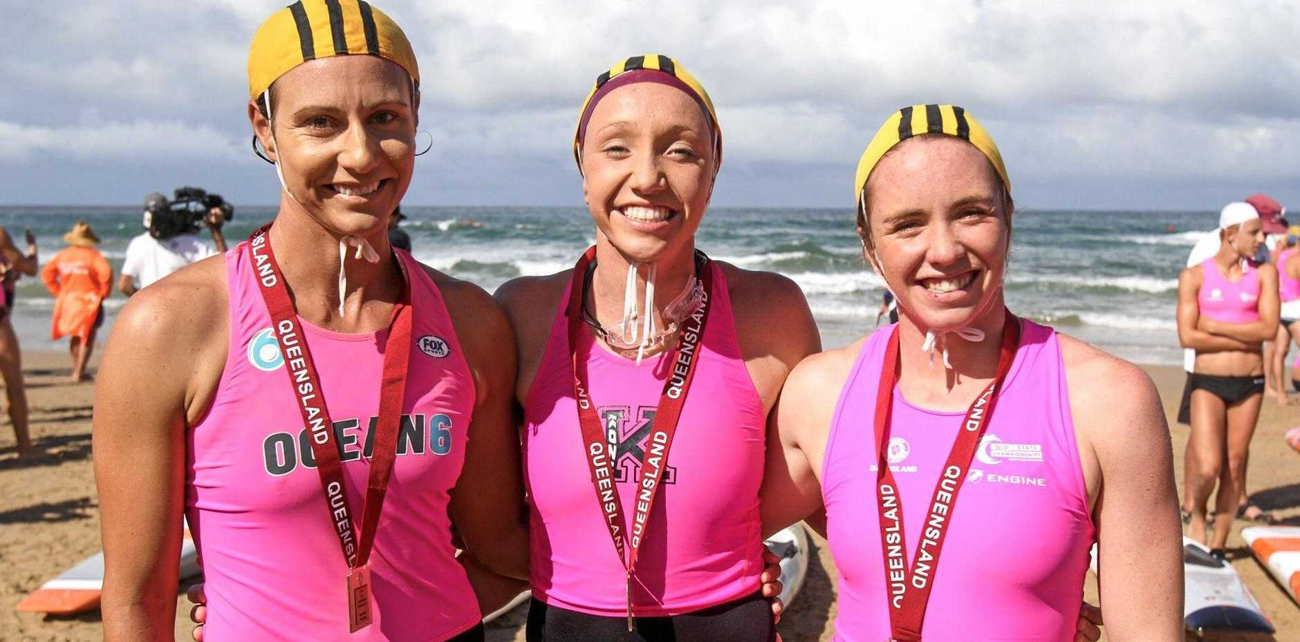 WINNERS: Kristy Ellis, Lani Pallister and Lucinda Kelly claimed victory in the open women's taplin relay at the state championships at Maroochydore.