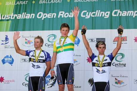 FLASHBACK: Malcolm Rudolph, Michael Hepburn, and Michael Matthews wave from the podium after the men's under-23 race at the Australian Road Championships in 2010.