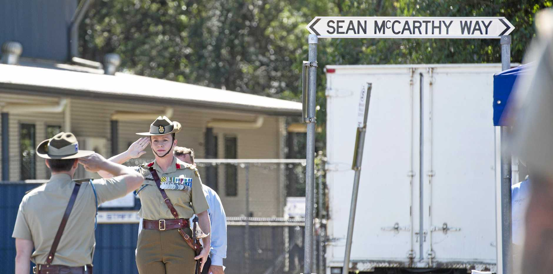 Royal Australian Corps of Signals, Head of Corps Brigadier Susan Coyle arrives at the renaming ceremony and dedication of Sean McCarthy Way at Highfields in honour of Signaller Sean McCarthy killed in active duty in Afghanistan, Saturday, March 17, 2018.