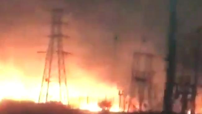 Fire ravages a power station near Terang. Supplied.