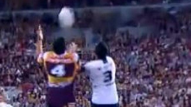 Broncos centre Jordan Kahu flies high for the ball after a short dropout.