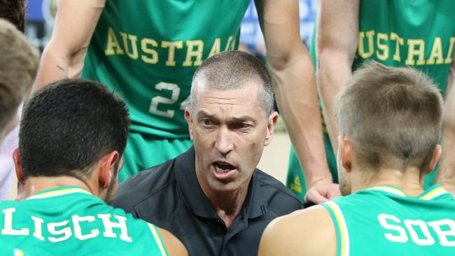 Basketball. Australia vs. Chinese Taipei at Margaret Court Arena. Australian Boomers coach Andrej Lemanis talks to his charges during the 3 qtr time break. Pic: Michael Klein
